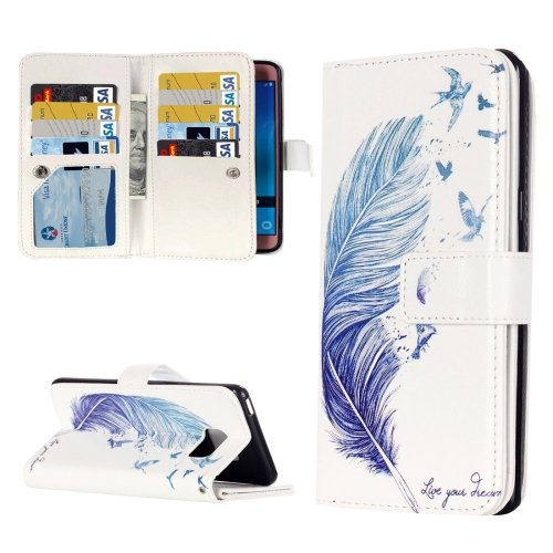 For Galaxy J5 (2016) Feather Pattern Flip Leather Case with 9 Card Slots, Wallet & Holder
