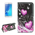 For Galaxy J5 (2016) Hearts Pattern Flip Leather Case with Holder, Card Slots & Wallet