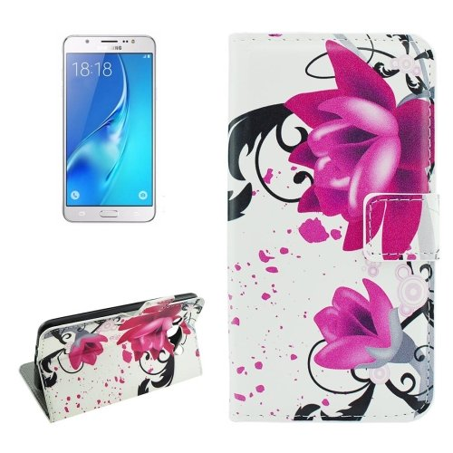 For Galaxy J5 (2016) Lotus Pattern Flip Leather Case with Holder, Card Slots & Wallet