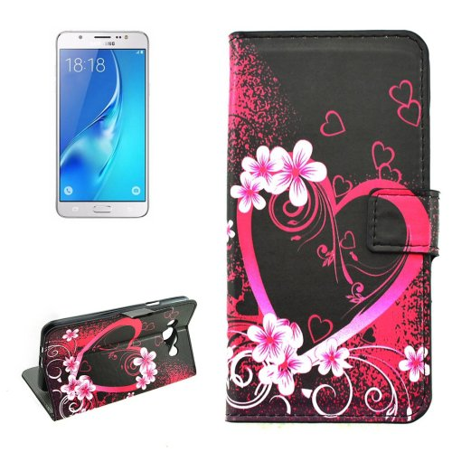 For Galaxy J5 (2016) Peach Pattern Flip Leather Case with Holder, Card Slots & Wallet