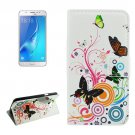 For Galaxy J5 (2016) Butterfly Pattern Flip Leather Case with Holder, Card Slots & Wallet
