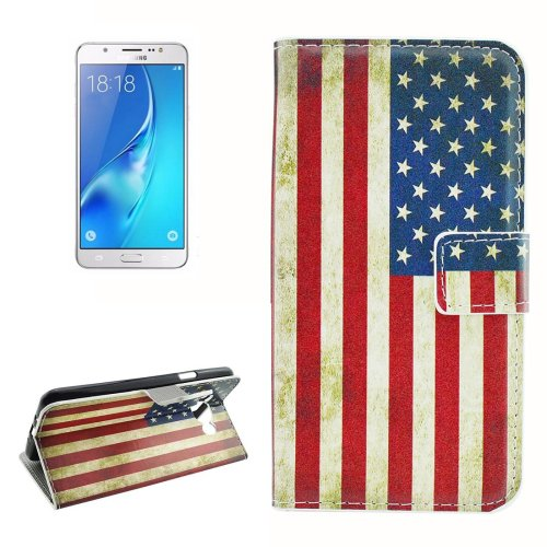 For Galaxy J5 (2016) US Flag Pattern Flip Leather Case with Holder, Card Slots & Wallet