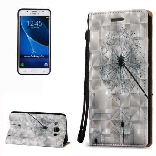 For Galaxy J5 (2016) 3D Relief Dandelion Pattern Leather Case with Holder, Card Slots & Lanyard