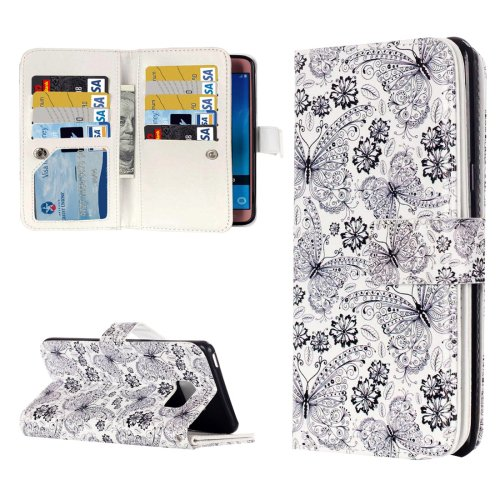 For Galaxy J7 (2016) Flowers Flip Leather Case with 9 Card Slots, Wallet & Holder