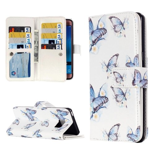 For Galaxy J7 (2016) Butterflies Flip Leather Case with 9 Card Slots, Wallet & Holder