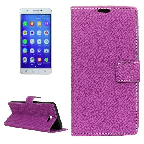 For Galaxy J7 (2016) Weaving Leather Case with Card Slots, Wallet & Photo Frame - # Colors