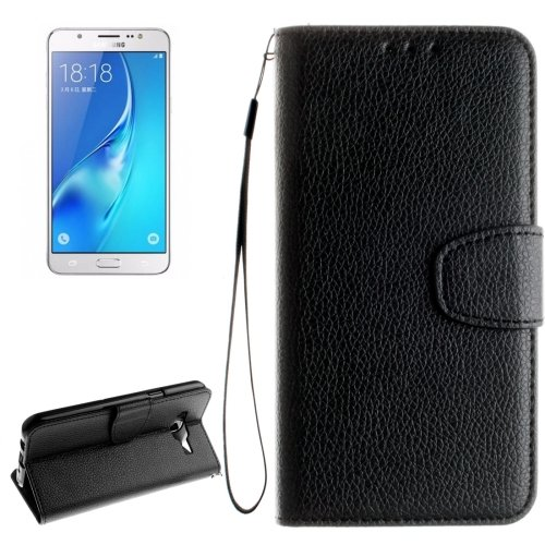 For Galaxy J7 (2016) Litchi Leather Case with Card Slots, Wallet & Photo Frame - # Colors