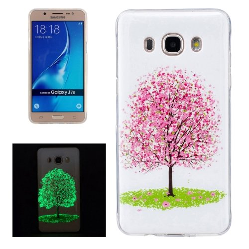 For Galaxy J7 (2016) Noctilucent Tree Pattern IMD Workmanship Soft TPU Back Cover Case