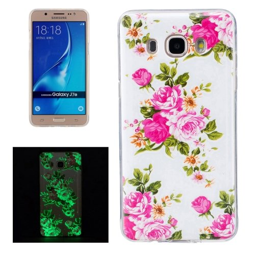 For Galaxy J7 (2016) Noctilucent Rose Pattern IMD Workmanship Soft TPU Back Cover Case