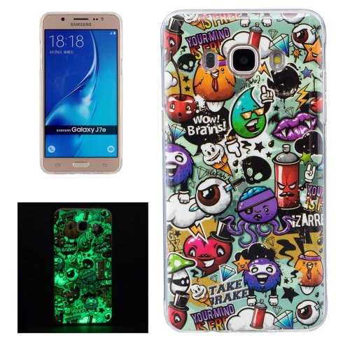 For Galaxy J7 (2016) Noctilucent Rubbish Pattern IMD Workmanship Soft TPU Back Cover Case