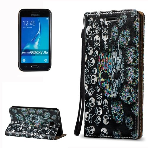 For Galaxy J7 (2016) 3D Relief Skull Pattern Flip Leather Case with Holder, Card Slots & Lanyard