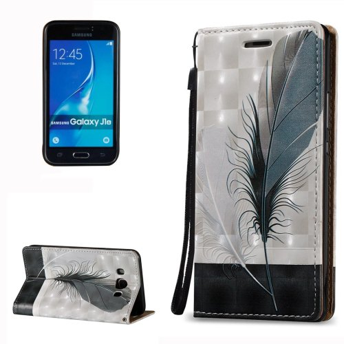 For Galaxy J7 (2016) 3D Relief Feather Pattern Flip Leather Case with Holder, Card Slots & Lanyard