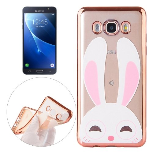 For Galaxy J7 (2016) Rabbit Pattern Electroplating Frame Soft TPU Protective Case