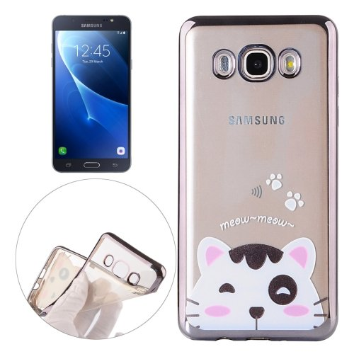 For Galaxy J7 (2016) Cat Pattern Electroplating Frame Soft TPU Protective Case