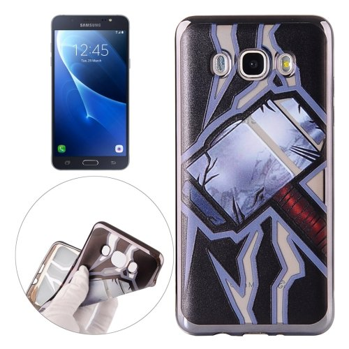 For Galaxy J7 (2016) Hammer Pattern Electroplating Frame Soft TPU Protective Case