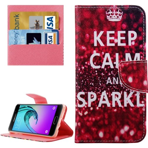 For Galaxy A3(2016) Sparkle Pattern Flip Leather Case with Holder, Card Slots & Wallet