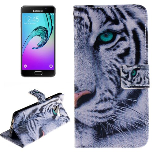 For Galaxy A3(2016) Tiger Pattern Flip Leather Case with Holder, Card Slots & Wallet