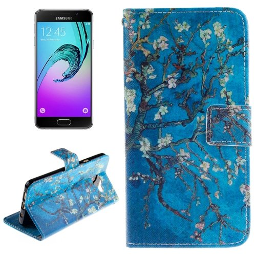 For Galaxy A3(2016) Flowers Pattern Flip Leather Case with Holder, Card Slots & Wallet
