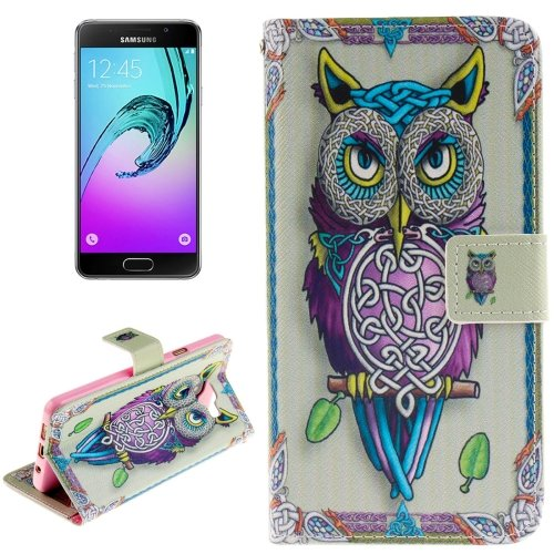 For Galaxy A3(2016) Owl Pattern Flip Leather Case with Holder, Card Slots & Wallet