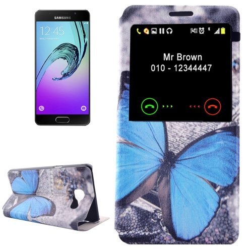 For Galaxy A3(2016) Butterfly Pattern Flip Leather Case with Call Display ID & Holder