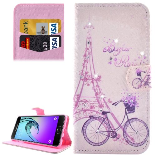 For Galaxy A3(2016) Bicycle Pattern Diamond Encrusted Leather Case with Holder, Wallet & Card Slots