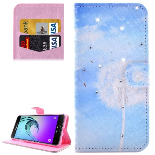 For Galaxy A3(2016) Dandelions Diamond Encrusted Leather Case with Holder, Wallet & Card Slots