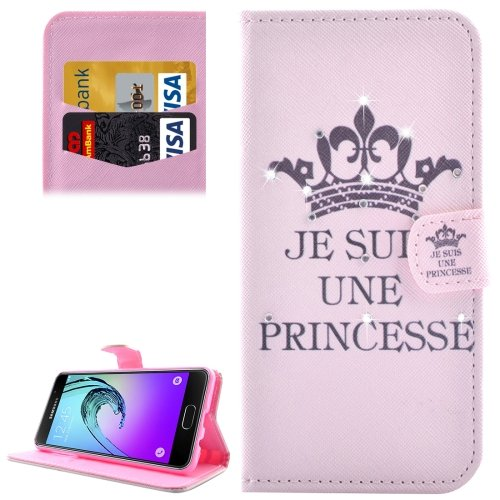 For Galaxy A3(2016) Princess Diamond Encrusted Leather Case with Holder, Wallet & Card Slots