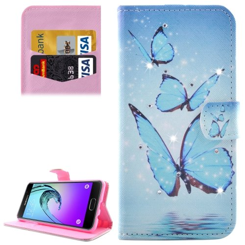 For Galaxy A3(2016) Butterflies Diamond Encrusted Leather Case with Holder, Wallet & Card Slots