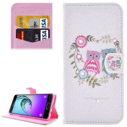For Galaxy A3(2016) Owl Diamond Encrusted Leather Case with Holder, Wallet & Card Slots