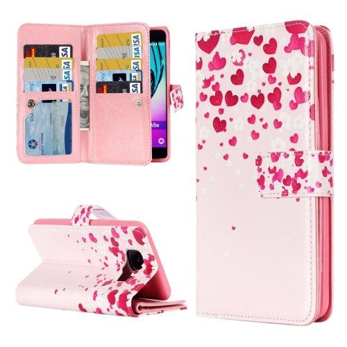 For Galaxy A3(2016) Flower Pattern Flip Leather Case with 9 Card Slots, Wallet & Holder