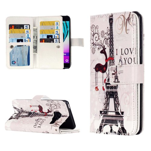 For Galaxy A3(2016) Deer Pattern Flip Leather Case with 9 Card Slots, Wallet & Holder