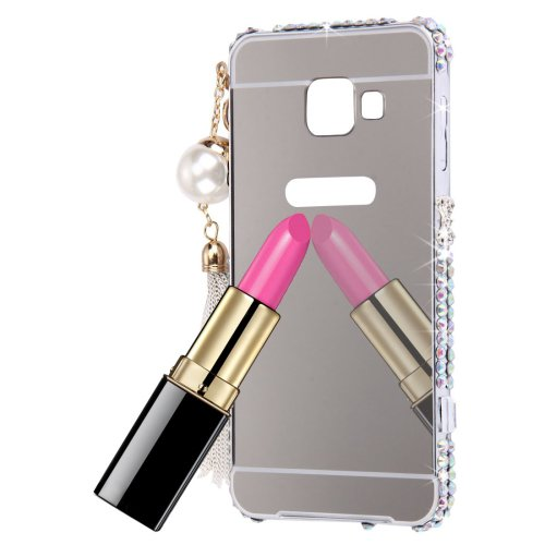 For Galaxy A3(2016) Silver Diamond Encrusted Electroplating Mirror PC Protective Cover Case
