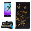 For Galaxy A3(2016) Bronzing Butterfly Leather Case with Holder, Card Slots & Wallet - # Colors
