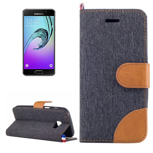 For Galaxy A3(2017) Denim Texture Flip Leather Case with Holder & Card Slots - # Colors
