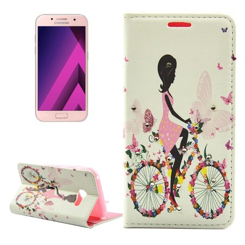 For Galaxy A3(2017) Diamond Girl 2 Leather Case with Holder, Card Slots & Wallet