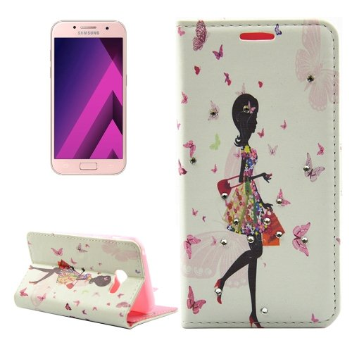 For Galaxy A3(2017) Diamond Girl 3 Leather Case with Holder, Card Slots & Wallet
