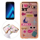 For Galaxy A3(2017) Living Group Pattern Electroplating Frame Soft TPU Protective Case