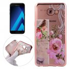 For Galaxy A3(2017) Bird And Flower Pattern Electroplating Frame Soft TPU Protective Case