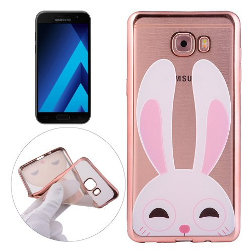 For Galaxy A3(2017) Rabbit Pattern Electroplating Frame Soft TPU Protective Case