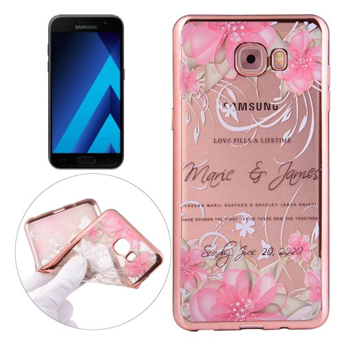 For Galaxy A3(2017) Peacock Pattern Electroplating Frame Soft TPU Protective Case