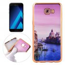 For Galaxy A3(2017) Watercourse Pattern Electroplating Frame Soft TPU Protective Case