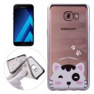 For Galaxy A3(2017) Lovely Cat Pattern Electroplating Frame Soft TPU Protective Case