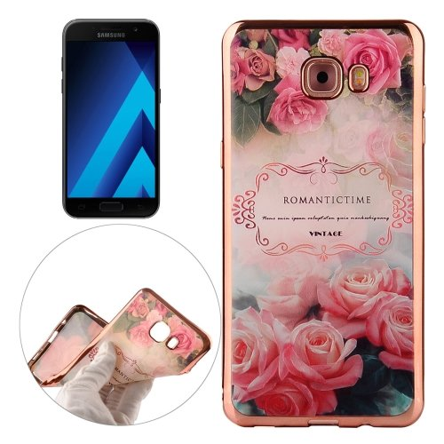 For Galaxy A3(2017) Roses Pattern Electroplating Frame Soft TPU Protective Case