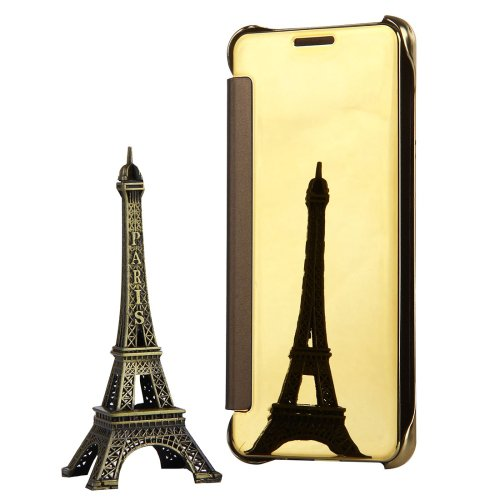 For Galaxy A3(2017) Gold Plating Mirror Flip Leather Case with Sleep / Wake-up Function