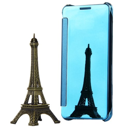 For Galaxy A3(2017) Blue Plating Mirror Flip Leather Case with Sleep / Wake-up Function
