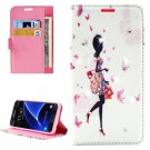 For Galaxy A7(2016) Lady Diamond 4 Leather Case with Holder, Card Slots & Wallet