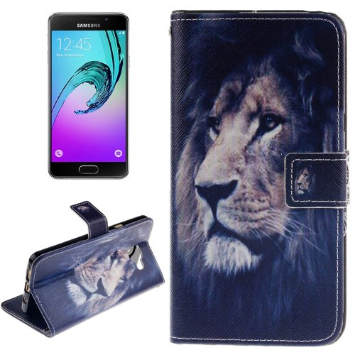 For Galaxy A7(2016) Lion Pattern Flip Leather Case with Holder, Card Slots & Wallet