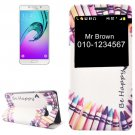 For Galaxy A7(2016) Pen Pattern Flip Leather Case with Call Display ID & Holder