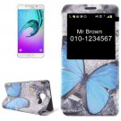 For Galaxy A7(2016) Butterfly Pattern Flip Leather Case with Call Display ID & Holder
