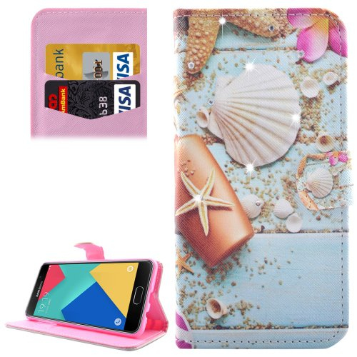 For Galaxy A7(2016) Starfish Diamond Flip Leather Case with Holder, Card Slots & Wallet